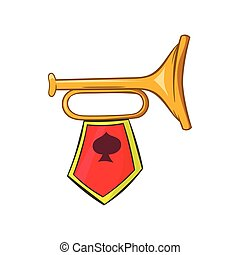 Golden trumpet with a red flag icon, cartoon style