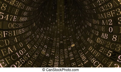 Golden tunnel made of hexadecimal symbols. IT related loopable motion background