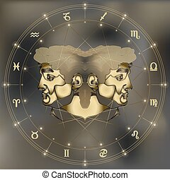 Golden twins portrait, zodiac Gemini sign - Golden twins,...