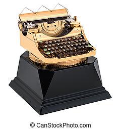 Golden typewriter award. Best publication or writer concept, 3D rendering