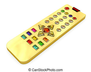 Golden universal remote control with colorful gems buttons on white. High resolution 3D image