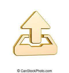 golden upload symbol isolated on white background