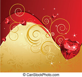 Golden Valentine's Day background with ruby heart