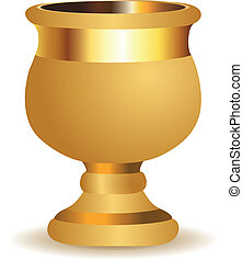 Golden vase - Beautiful big golden shiny vase on white ...
