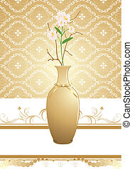 Golden vase with bouquet of flowers