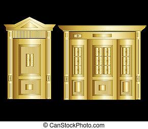 Golden Vault Door. Vector Illustration