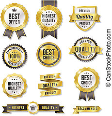 Golden Vector Commercial Labels - Set of eleven golden...