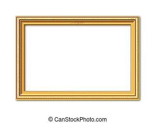 golden vector frame with stucco ornaments - golden...