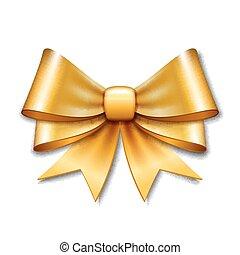 Golden vector gift bow on white background.