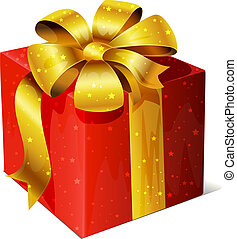 golden vector gift with red ribbon