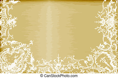 golden brushed steel template with lace edges in vector format