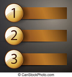 Golden vector lables with numbers - Vector Illustration of...