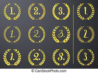 Golden vector laurel wreaths