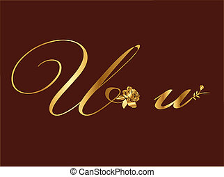 Golden Vector Letter U