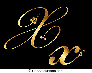 Golden vector letter X with roses (collection)