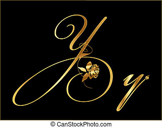 Letter Y in gold with roses