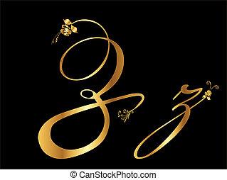 Golden vector letter Z