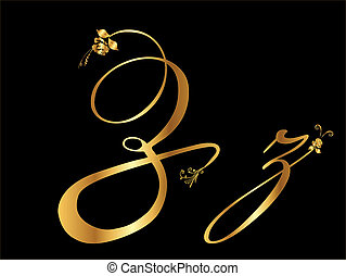 Golden vector letter Z with roses (collection)