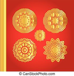 Golden vector snowflakes on red background