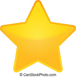 shiny golden star icon on white background, eps 10