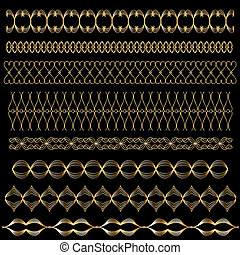Golden vector trim or border set - Golden vector trim or...