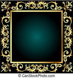 gold(en), vegetal, marco, ornamento, plano de fondo