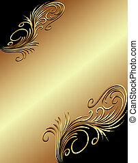 gold(en), vegetal, ornamento, fundo, ilustração