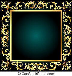 gold(en), vegetal, quadro, ornamento, fundo