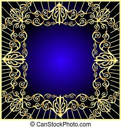 gold(en), vendange, cadre, modèle fond