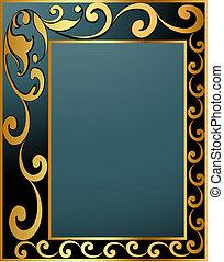 gold(en), vendange, modèle, spirale, étiquette