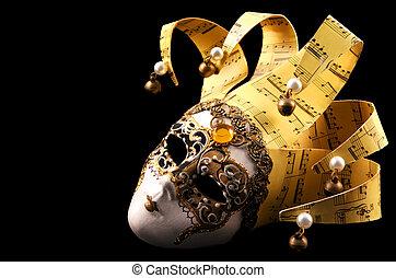 Golden Venetian Mask - Golden Venetian mask, isolated on...
