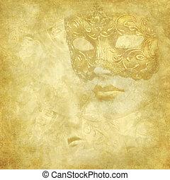 Golden Venetian mask on floral grunge texture - Golden faded...