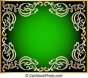 gold(en), verde, ornamento, fondo, nero