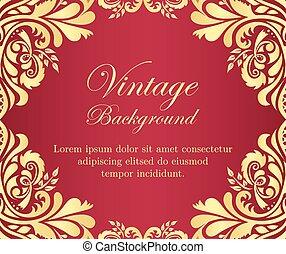 Golden vintage background with floral frame