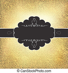 Golden vintage card template. Vector, EPS10
