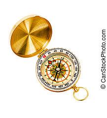 Golden vintage compass.