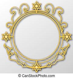 Golden vintage design elements. Jewish motif. 3D vector EPS 10.