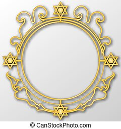 Golden vintage design elements. Jewish motif. 3D vector EPS 10.