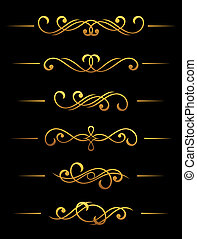 Golden vintage dividers and borders