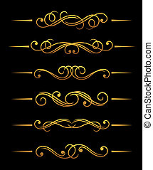 Golden vintage dividers - Golden vintage divider elements ...