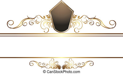 Dark golden vintage element for border. Vector illustration