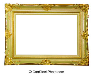 golden vintage frame isolated with clipping path