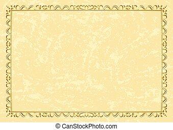 golden vintage frame on grunge background - vector