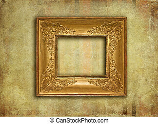 Golden vintage frame on grunge texture