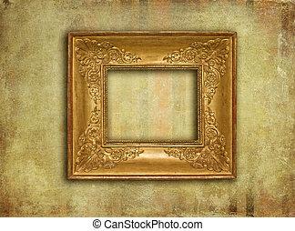 Golden vintage frame on grunge texture