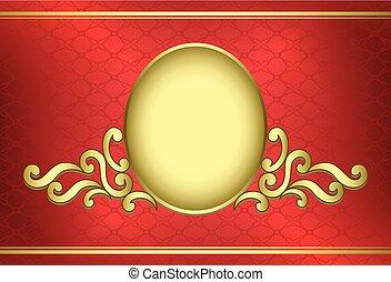 golden vintage frame on red background - vector