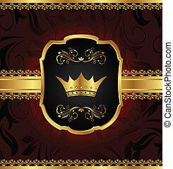 golden vintage frame with crown
