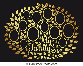 Golden vintage genealogy tree. Genealogical family tree vector illustration on black background