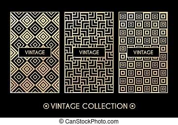 Golden vintage pattern on black background