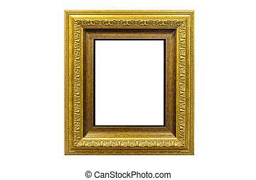 Golden vintage photo frame isolated on white
